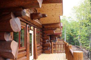 aqua log cabin front