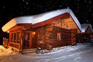 aqua log cabin outside